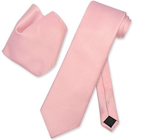 - Vesuvio Napoli Solid DUSTY PINK Color NeckTie & Handkerchief Men's Neck Tie Set