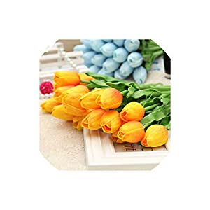 Artificial Tulips 10Pcs Real Touch Flowers Latex Tulips Flower Artificial Bouquet for Wedding Party,Orange 101
