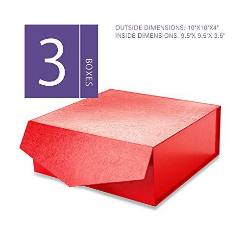 MALICPLUS Luxury Gift Boxes with Lids, Square 10x10x4 Inches, Bridesmaids Proposal Boxes, Sturdy Boxes Storage Boxes Collapsible Magnetic Closure Gift Boxes (Embossing Glossy Red, 3 Boxes)