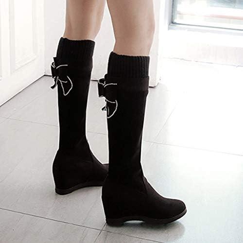 DERENFR Bottes Noires Femme Boots Femme Noir Bottine Femmes Talons Aux Femmes Troupeau des Coins Augmenter D/écontract/ée des Chaussures Rond Doigt de Pied Plus de Le Le Genou Longue Bottes