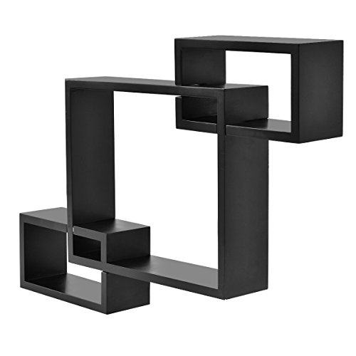 Review Giantex Black Intersecting 3 Rect Boxe Floating Shelf Wall Mounted By Giantex by Giantex