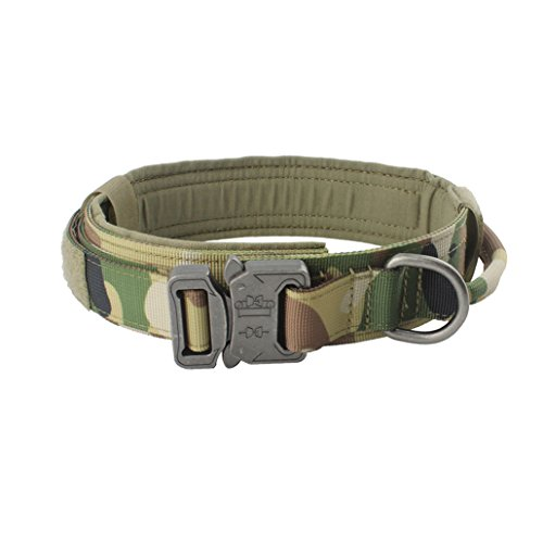 - Yunlep Adjustable Tactical K9 Dog Collar Heavy Duty Metal buckle with Control Handle for Dog Training,1.5