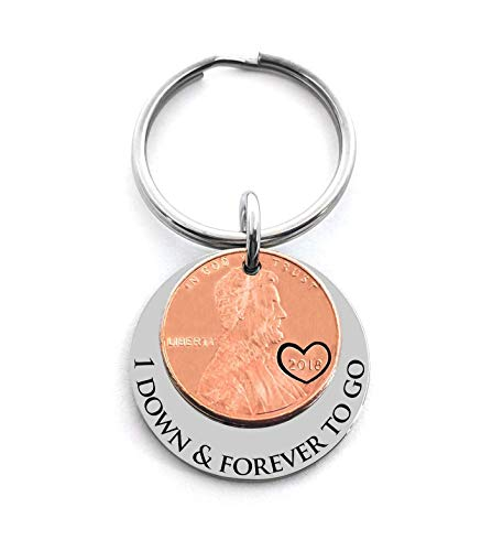 1 Year Anniversary Gift 2018 Penny Good Luck Penny Key Chain Gift For Husband or Wife Wedding Date