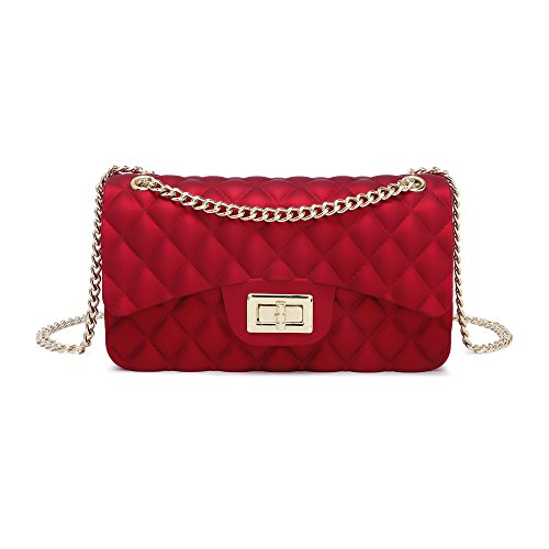Women Shoulder Bag Jelly Clutch Handbag Quilted Crossbody Bag with Chain (Red Quilted Purse)