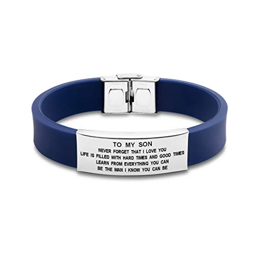 to My Son Never Forget That I Love You Boys Bracelet Jewelry Gift Idea from Dad and Mom (Blue) by Freedom Love Gift (Image #1)