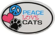Imagine This 4-Inch by 6-Inch Car Magnet Oval, Peace Love Cats