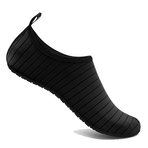 YALOX Water Shoes Women's Men's Outdoor Beach Swimming Aqua Socks Quick-Dry Barefoot Shoes Surfing Yoga Pool Exercise(Black,36/37EU)