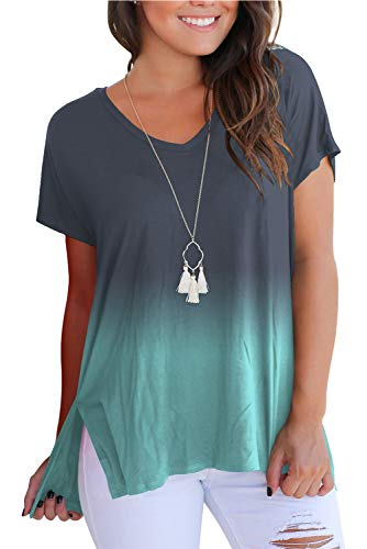 FAVALIVE T Shirts for Women V Neck Cotton Tops Green S
