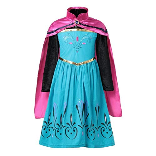 Anna Long Sleeve Princess Costume Kid Halloween Party Girl Cosplay Dress Up Gown and Cape 2PC Set, Size 9-10 -