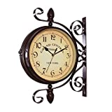 Fengfeng Bracket Clock, Clocks Outdoor Garden Outside Double Sided Bracket Wall Clock Vintage Two Sided Design Silent Clock Living Room Mute Clock for Use Indoors and Outdoors - 3837cm