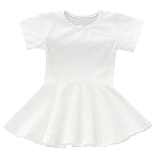 lymanchi Baby Girl Dresses Short Sleeve Toddler Girl Ruffle Infant Cotton Cute Dress White 80cm by lymanchi
