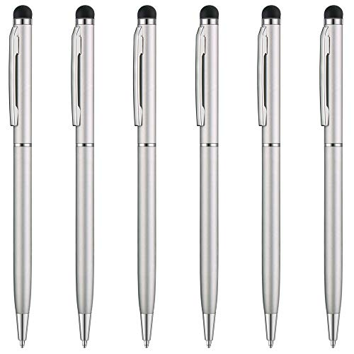 ( Unibene Stylus Pen - Sliver, 6 Pack 2 in 1 Capacitive Slim Stylus & Ballpoint Pen for Universal Touch Screens Devices, iPad ,iPhone, Samsung, HTC, Kindle, Tablet(Black Ink))
