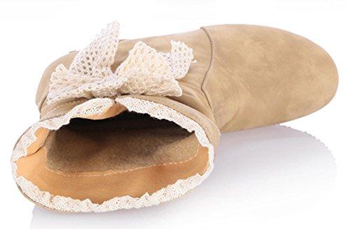 Idifu Mujeres Sweet Bow AuHombrestar Cuña Mid Heels Slouch Botines Cortos Amarillos