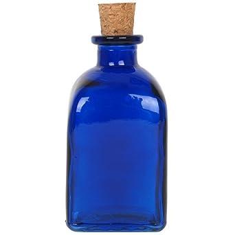 """4 3/4 """"Tall Azul Cobalto botella de cristal cuadrado ..."""