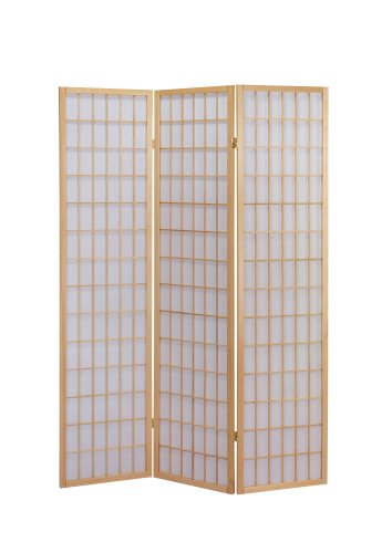 - ACME 02285 Naomi 3-Panel Wooden Screen, Natural Finish