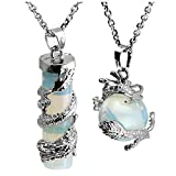 Jovivi 2pc Dragon Wrapped Opalite Round Ball Cylinder Gemstone Healing Crystal Pendant Necklace Set