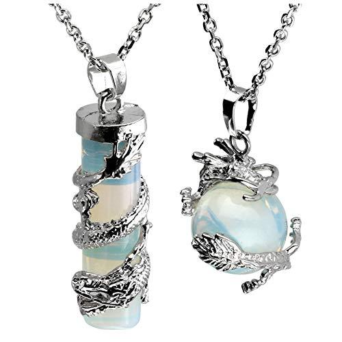 Jovivi 2pc Dragon Wrapped Opalite Round Ball Cylinder Gemstone Healing Crystal Pendant Necklace Set -