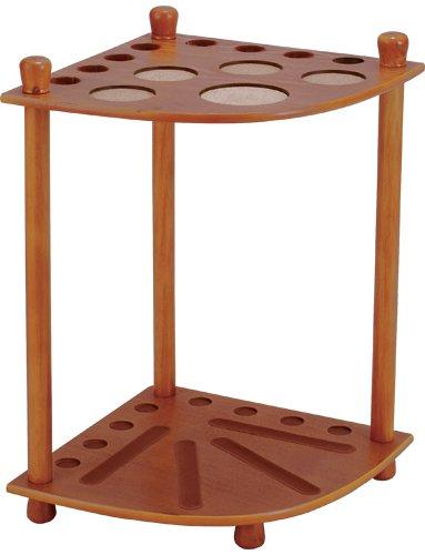 8 Pool Cue Stained Wood Floor Rack, Honey