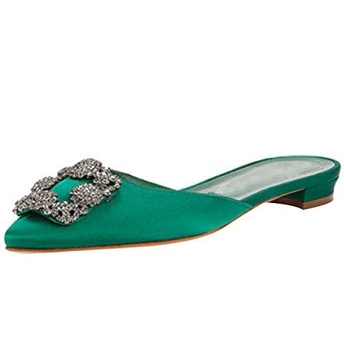 Mavirs Mule Slippers For Women, Womens Satin Rhinestones Flat Sandals Pointed Toe Jeweled Embellishment Slides Sandals Green-satin