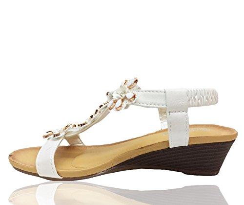 Heels Sommerkleid Weiß Plattform Sandalen Damen Keil RoMaAn's Fashion Schuhe IDeal Strand Abend Damen Größe ROx8RYw