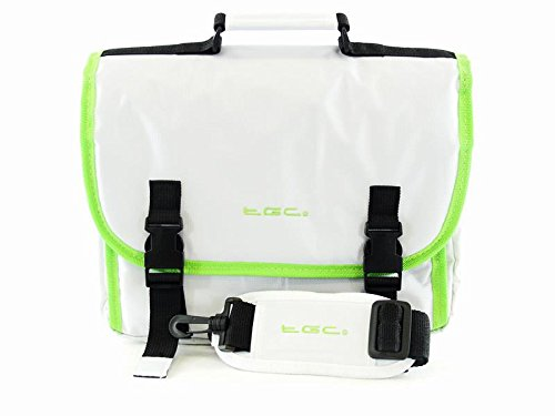 TGC® Messenger Fall Tasche für Samsung Galaxy TabPro 10.1Wi Jet Black With Hot Orange Trims/Linings Cool White With Electric Green Lining & Trims