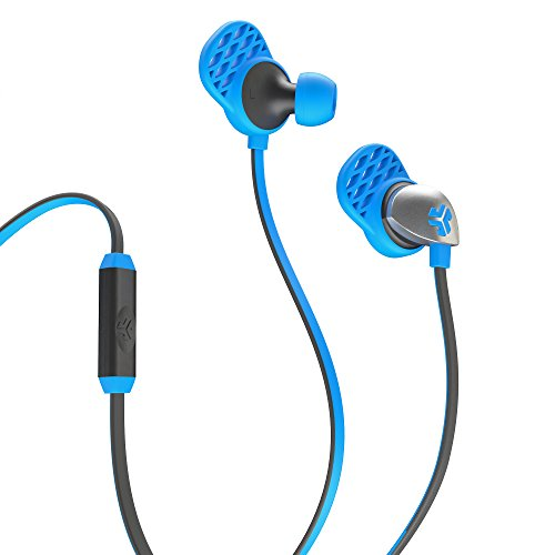 JLab Audio  Epic Earbuds with Massive 13mm C3 Drivers, Easy-to-Use Track Control, Customizable Cush Fins & GUARANTEED FOR LIFE - Blue/Gray
