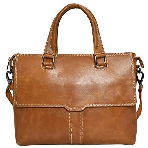 (HiLEDER 100% Pure Genuine Premium Sheep Nappa Leather 14 inch Briefcase Laptop Messenger Satchel Office Bag, Tan )