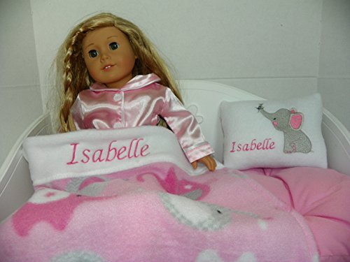 Doll Bedding Personalized with Name Isabelle: Elephant Print