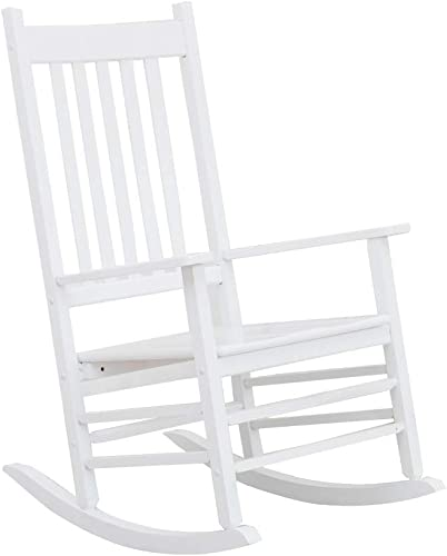 B Z KD-25W Wooden Rocking Chair Heirloom Contoured Porch Rocker Indoor Outdoor White