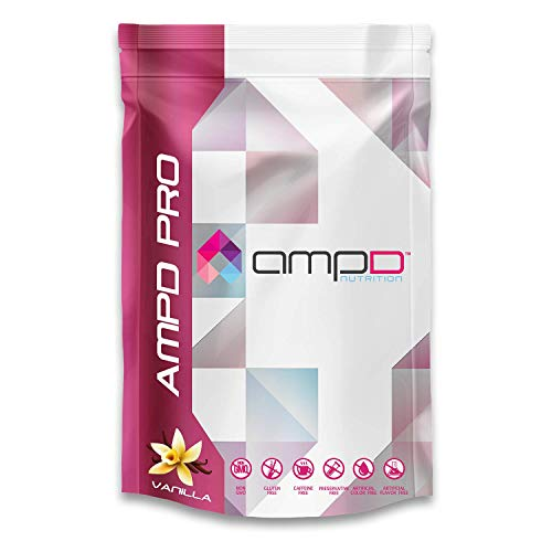 AMPD Pro 688 Grams – 30 Servings Vanilla – 20g Plant Based Protein Powder from Pea, Rice, Chia – Vegan Friendly, 3g Fiber, Omega-3 s, Multi-Vitamin Plus Biotin