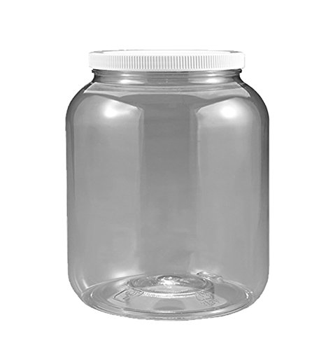 1/2 Gallon 2 Quart Plastic Wide Mouth Jar with Pressurized Seal White screw on cap lid and Container Shatter-Proof BEST American High Quality BPA Free crystal clear PET (Seal View Plastic)