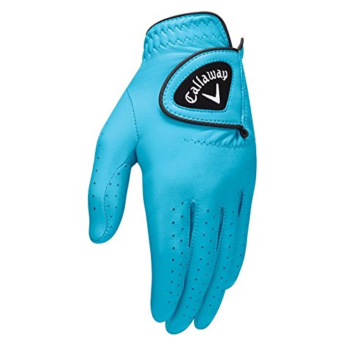 Callaway Golf 2017 Women's OptiColor Leather Glove, Aqua, Large, Worn on Left Hand (Aqua Glove)