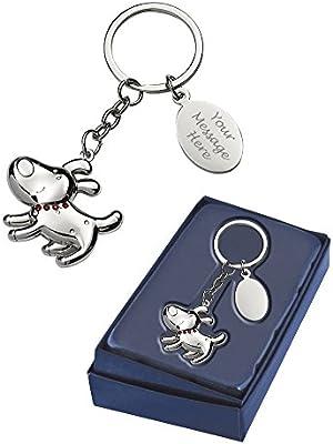 Llavero con forma de perro personalizado con caja de regalo ...
