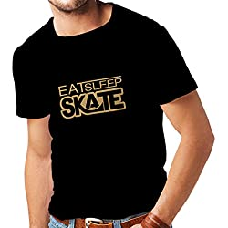 T shirts for men Eat Sleep Skate - for skaters, skate longboard, skateboard gifts (Medium Black Gold)