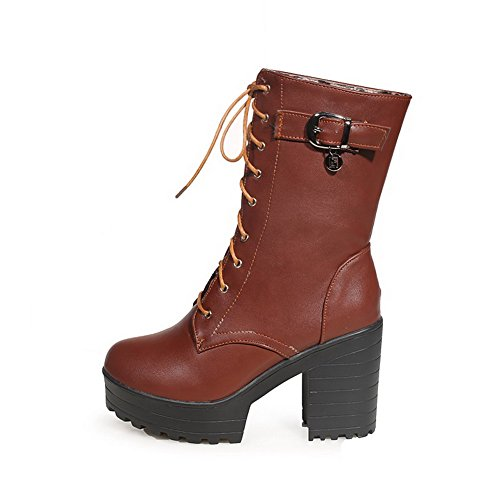Allhqfashion Women's Round Closed Toe High Heels Soft Material Mid Top Solid Boots Coffee jN2Oc2OWSv