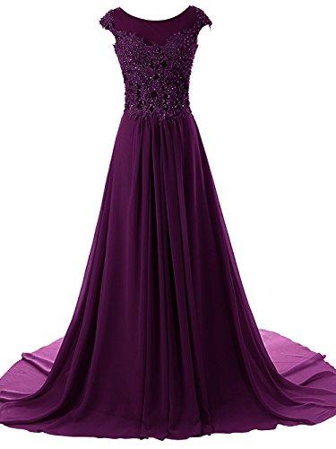 JAEDEN Women's Long Evening Dresses Lace Prom Party Dress Chiffon Bridesmaid Gown Cap Sleeve Grape US16W (Long Purple Gown)