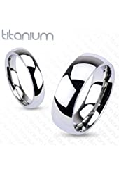 6mm Titanium Plain Mirror Glassy Comfort Fit Wedding Band Ring Sz 5-13; Comes with Free Gift Box