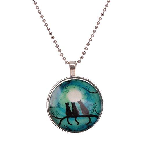 Noctilucent Halloween Cabochon Glass Art Cat Pendant Necklace Chain ()