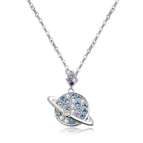 VANA JEWELRY Round Moon Earth Planet Necklaces for Women 925 Sterling Silver CZ Crystal Diamond Cubic Zirconia Girls Fashion Jewelry Gift for Her Mother's Day Birthday Anniversary w/Present Box ()