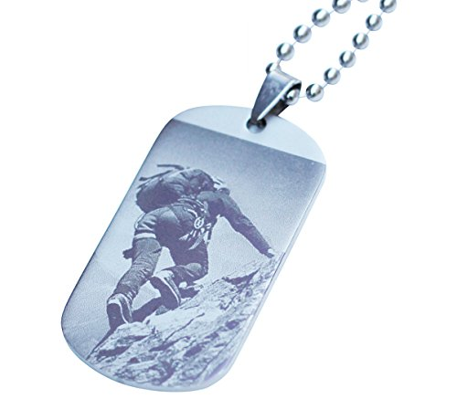 Diy Tin Man Baby Costume (Customized Stainless Steel Military Army Dog Tags Pendants Necklace with Chain and Silencers, Personalized Photo and Text (1 Tag, Photo))