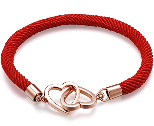- Infinite U Women's Red Rope 925 Sterling Silver Rhodium Plated Heart Lock Bracelet,Rose Gold and Red