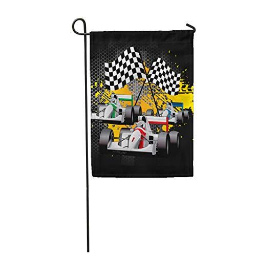 Semtomn Garden Flag Driver Car Racing Go Cart Checkered Flags Goal Graffiti 12