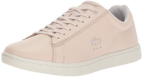 Lacoste Women's Carnaby EVO 417 1 Sneaker, Light Pink/White, 6.5 M US (Pink Shoes White Leather)