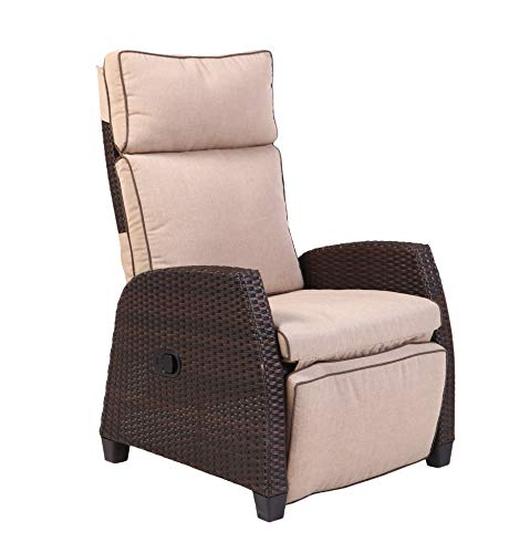 Grand Patio MOOR Indoor & Outdoor Reclining Chair with Thick Beige Cushion, Weather-Resistant Wicker Patio Chairs with Aluminum Frame, Adjustable Recliner Chair with Side Panel, ()
