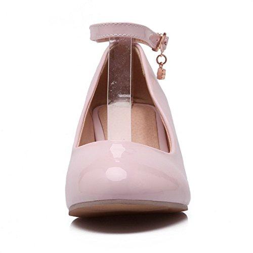 Odomolor Women's PU Solid Buckle Round-Toe Kitten-Heels Pumps-Shoes, Pink, 40
