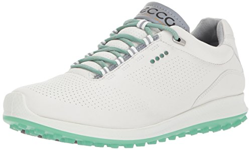 (ECCO Women's Biom Hybrid 2 Perforated Golf Shoe, White/Granite Green Yak Leather, 8 M US)