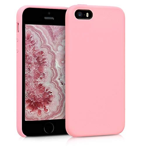 kwmobile TPU Silicone Case for Apple iPhone SE / 5 / 5S - Soft Flexible Rubber Protective Cover - Light Pink ()