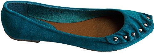 Refresh Iris-02 Women's toe cap embellish metal stud suede ballerina boat flats Teal 5.5 for $<!--$6.99-->