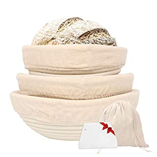 Bread Proofing Basket 7'' 8'' 9'' Natural Handmade Rattan Round Baking Bowl Set with Linen Liner, Scraper, French Style Artisan Sourdough Bakery Basket
