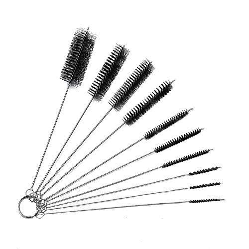 8 Inch Nylon Tube Brush Set of 10, Cleaning Brush Set for Bottle, Teapot Nozzle, Drinking Straws, Glasses, Jewelry, keyboards, Airbrush and Pipe ()
